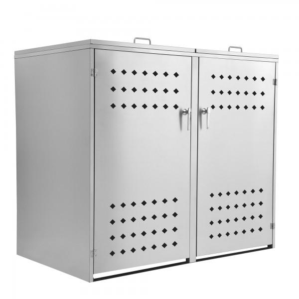"""Edelstahl Mülltonnenbox """"Squares"""" mit Klappdeckel für 2 Tonnen"""