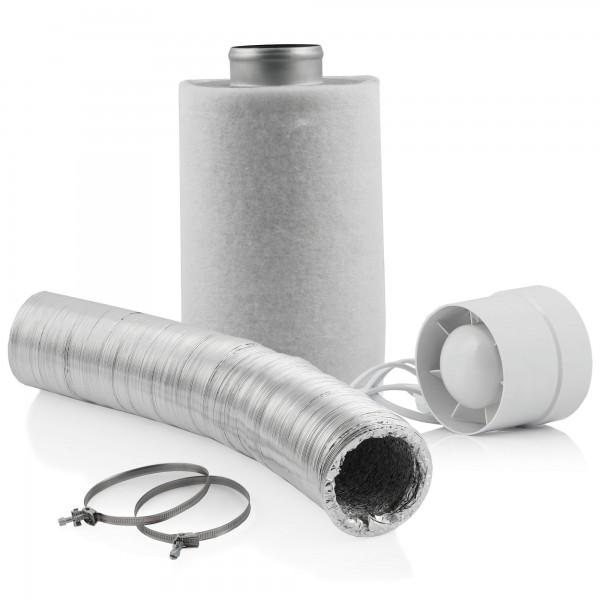 Zelsius Grow Set Basic | Ø 100 mm | Rohrlüfter, Aktivkohlefilter, Flexschlauch