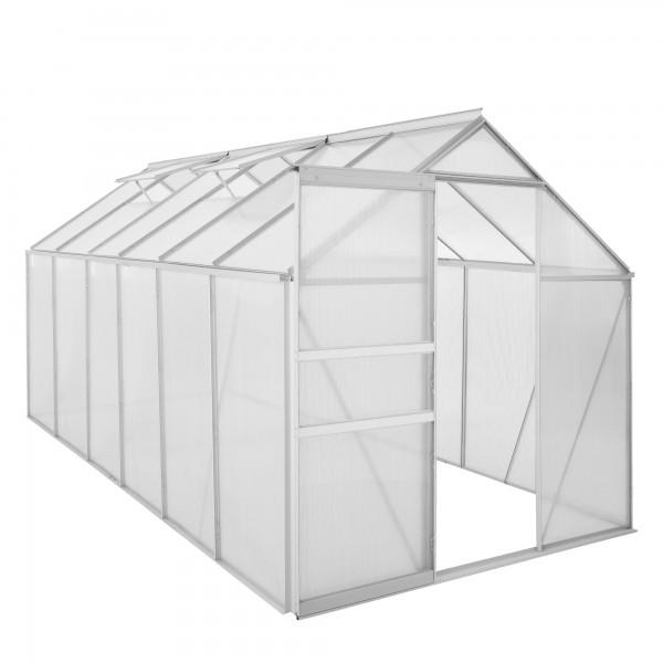 Zelsius Aluminium Gewächshaus 380 x 190 cm, 6 mm Platten, 7,22 m²