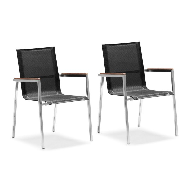 Zelsius 2x Gartenstuhl aus Edelstahl, 55 x 56 x 88 cm, schwarz, Stuhl
