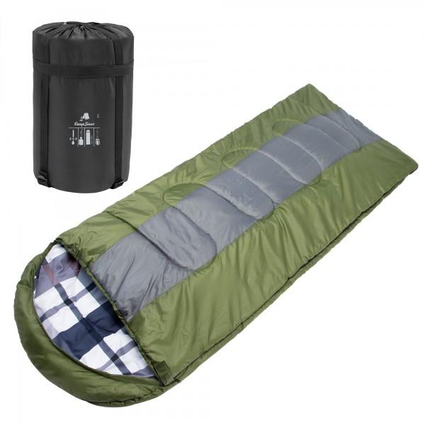 CampFeuer Deckenschlafsack | 220 x 85 cm | oliv/grau | Schlafsack