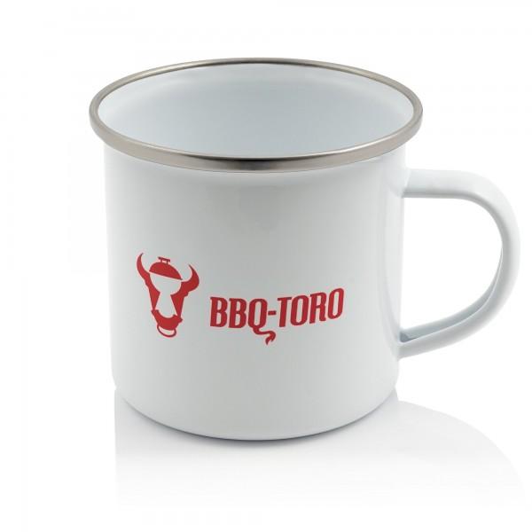 BBQ-Toro Emaillierte Tasse, Emaille Becher, 350 ml, weiß