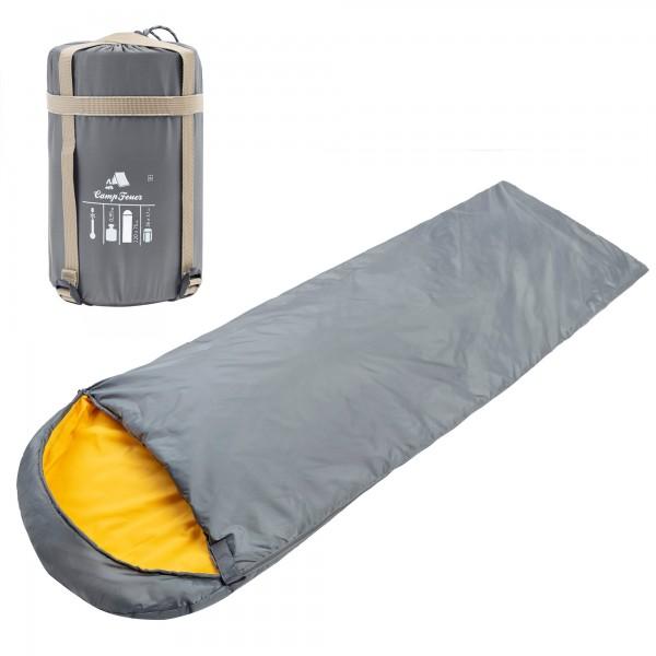 CampFeuer Deckenschlafsack | 220 x 75 cm | grau/orange | Schlafsack