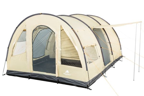 CampFeuer - Tunnelzelt, 4 Pers. Campingzelt, 5000 mm WS, creme-grau