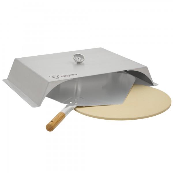 BBQ-Toro Edelstahl Pizzaaufsatz Set für Gasgrill, Pizzastein, Schaufel