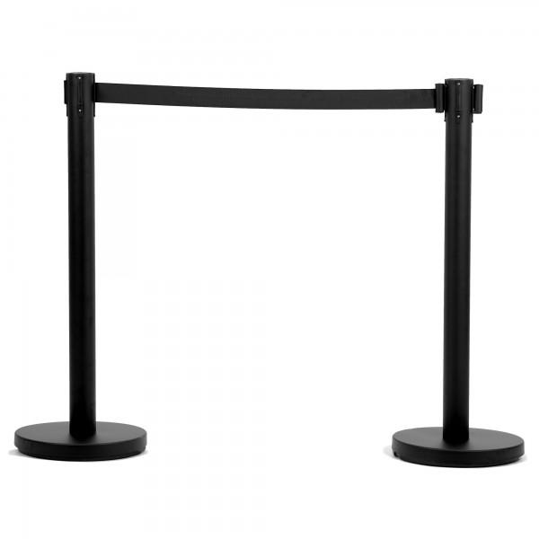 Zelsius Absperrpfosten (2 Stück) schwarz   2,5 m Gurtlänge   2er Set Tensatoren