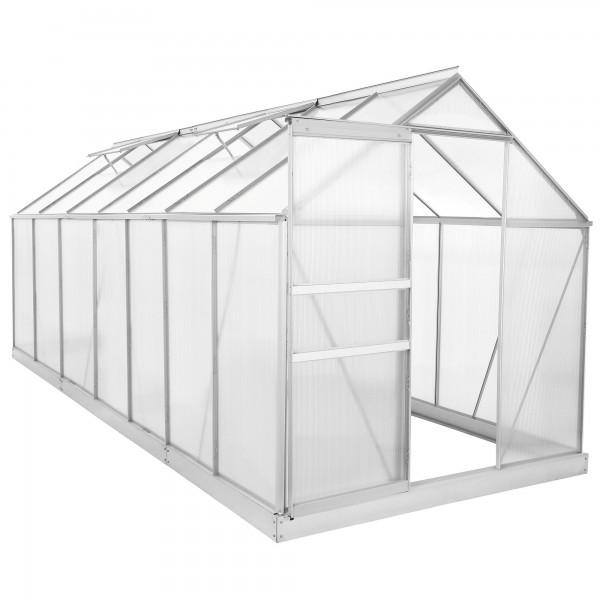 Set: Zelsius - Aluminium Gewächshaus, 430 x 190 cm, inkl. Fundament