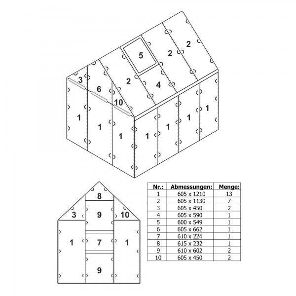 Zelsius Hohlkammerstegplatten Set 31-teilig   6 mm Ersatz Gewächshausplatten