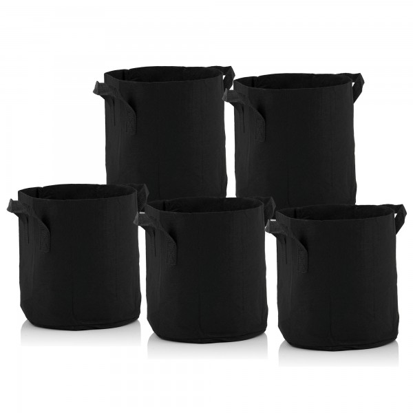 Zelsius Pflanzsack | 11 Liter - schwarz | 5 Stück | atmungsaktive Pflanztasche