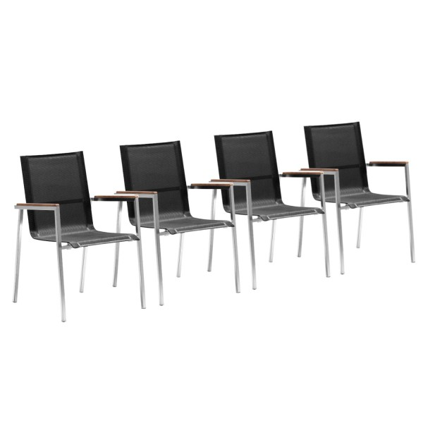 Zelsius 4x Gartenstuhl aus Edelstahl, 55 x 56 x 88 cm, schwarz, Stuhl