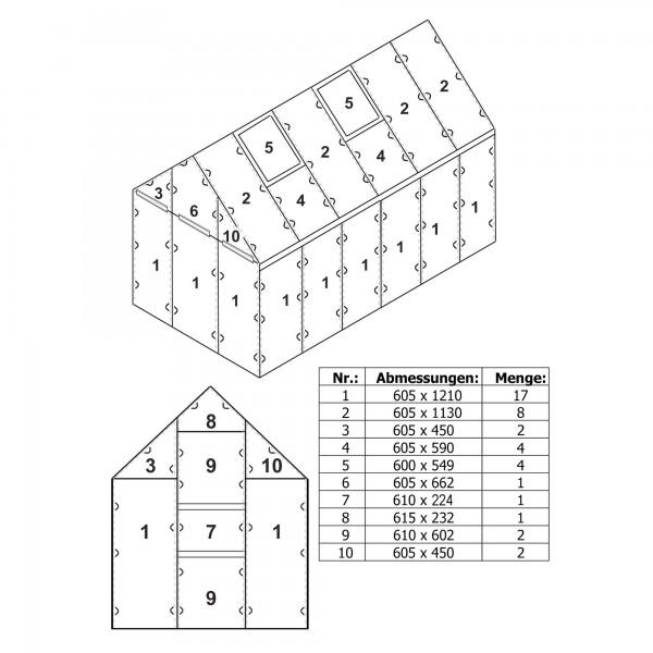 Zelsius Hohlkammerstegplatten Set 42-teilig   6 mm Ersatz Gewächshausplatten