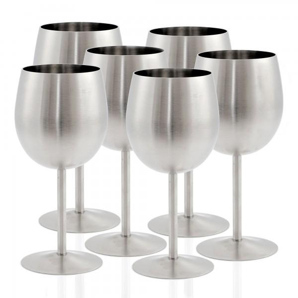 Zelsius Edelstahl Weinglas Set (6 Stück) 350 ml - matt gebürstet